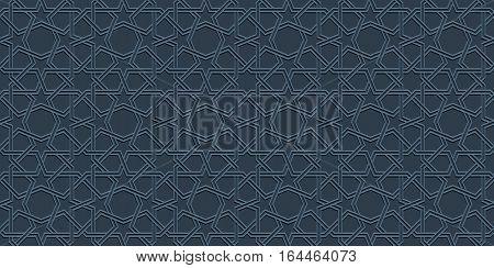 Blue mosaic moroccan zellige seamless background. vector illustration