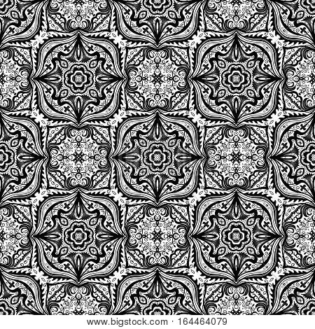 Seamless pattern design. Intricate floral background. Complex damask ornament. Vintage black white vector illustration. Luxury wallpaper, fabric, paper, invitation print. Stylized flower decoration.