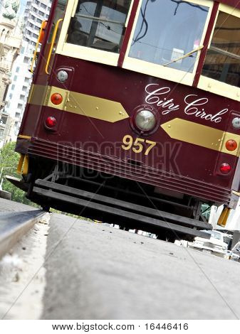 Melbourne Tram on a jaunty angle
