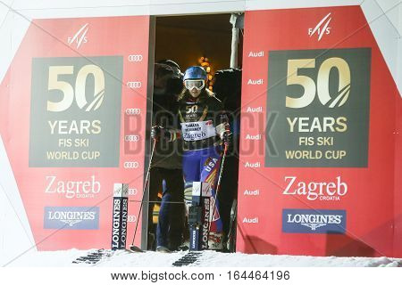 ZAGREB, CROATIA - JANUARY 4th, 2017 : Ski race of overall winners of the FIS World Cup on the ski slope in Bakaceva street, on the road from the cathedral to the main square. Tamara McKinney at the start.