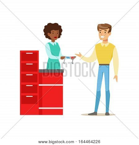 Cinema Worker Giving 3D Glasses To Visitor, Part Of Happy People In Movie Theatre Series. Vector Illustration With Cartoon Characters Indoors At The Movies