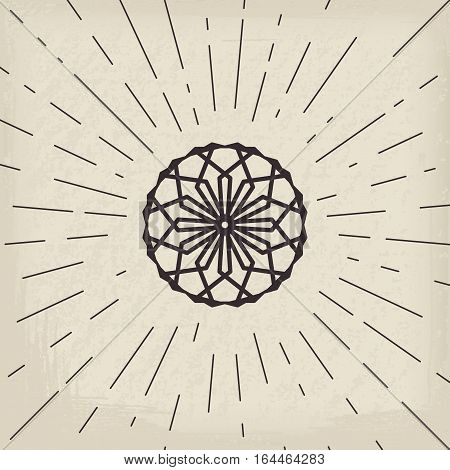 Asian linear ornament. Vector decorative geometric symbol.