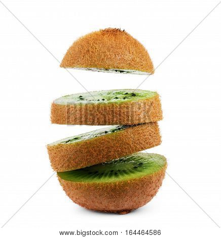 Sliced kiwi isolated on white background. Flying fruit floating in the air.