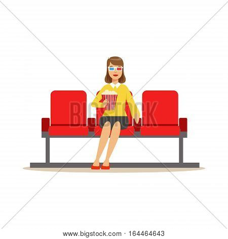 Woman In Cinema Room Alone With Popcorn And 3D Glasses, Part Of Happy People In Movie Theatre Series. Vector Illustration With Cartoon Characters Indoors At The Movies