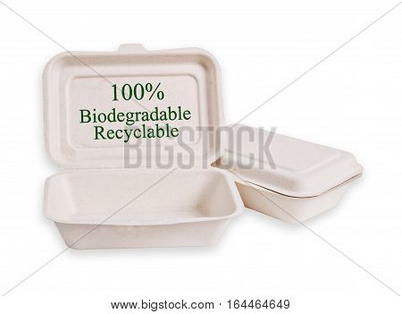 Bagasse box for food isolated on white background Saved clipping path. It is made from nature Go green