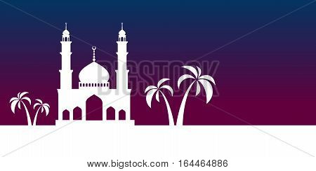 Ramadan greeting card. White mosque on sunset background. Vector illustration.