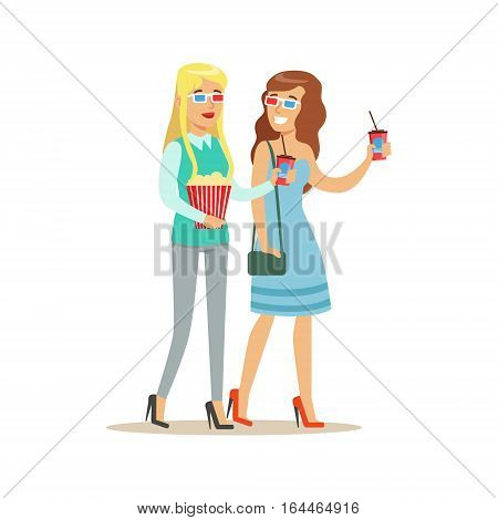 Two Girlfriends Going To Cinema With 3D Glasses And Popcorn, Part Of Happy People In Movie Theatre Series. Vector Illustration With Cartoon Characters Indoors At The Movies