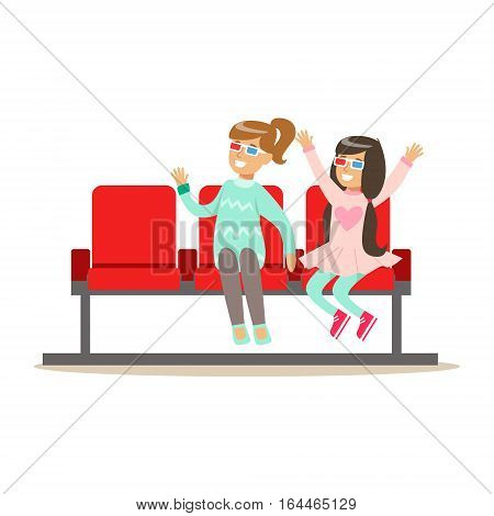 Two Girls Waiting Taking Seats In Cinema Room, Part Of Happy People In Movie Theatre Series. Vector Illustration With Cartoon Characters Indoors At The Movies