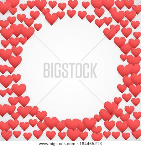 Romantic Hearts Round Decoration on white paper. Card and Invitation of Happy Valentines Day Greetings. Vector Illustration.