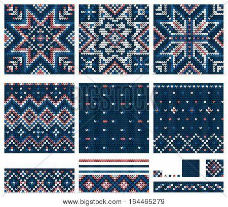 Set of Norwegian Star knitting patterns, vector seamless patterns
