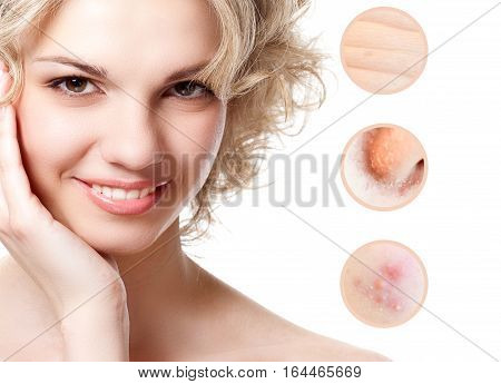 Concept of skincare. Skin of beauty young woman before and after the procedure. Isolated on white background