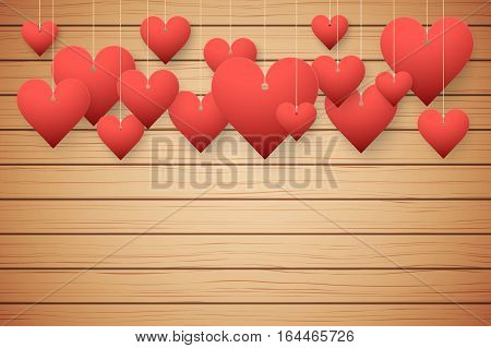 Wooden background with red hearts. Card and Invitation of Happy Valentines Day Greetings. Vector Illustration