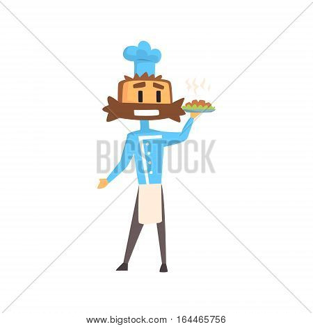 Professional Cook In Classic Double Breasted Blue Jacket And Toque With Bushy Moustace Holding Ready Dish. Colorful Vector Chef Cartoon Character Cooking In Restaurant Kitchen Illustration.