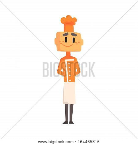 Professional Cook In Classic Double Breasted Orange Jacket And Toque Standing Smiling. Colorful Vector Chef Cartoon Character Cooking In Restaurant Kitchen Illustration.