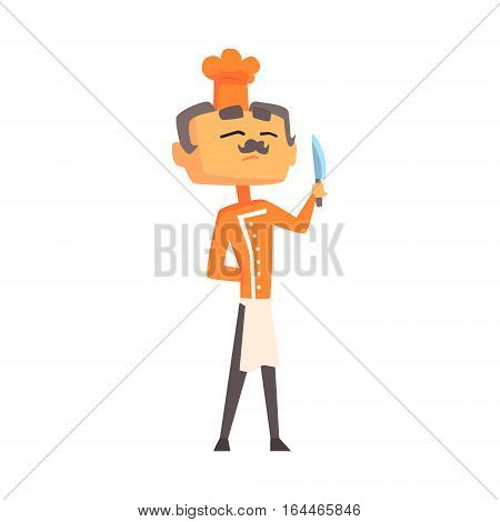 Professional Cook In Classic Double Breasted Orange Jacket And Toque Standing Proud With Knife. Colorful Vector Chef Cartoon Character Cooking In Restaurant Kitchen Illustration.