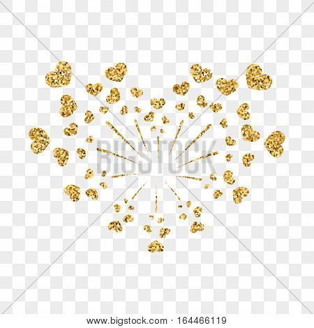 Heart Firework Gold Vector Isolated