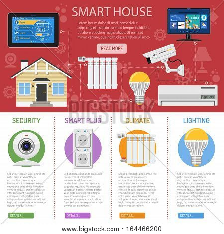 Smart House and internet of things infographics. tablet controls smart home like radiator, lighting security camera air conditioning and smart tv flat icons. vector illustration
