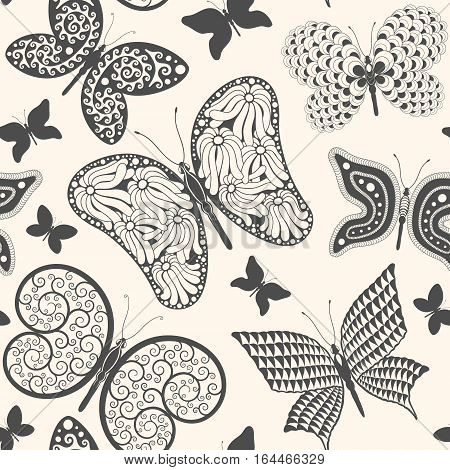 Seamless pattern with different butterflies. Vector illustration