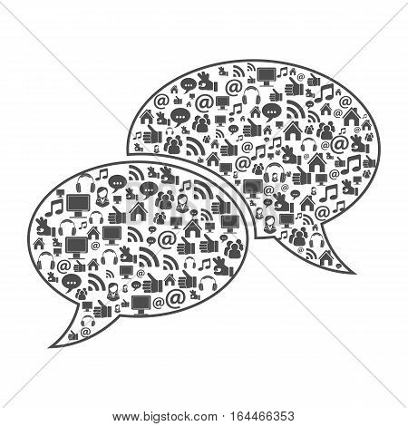 Speech Bubbles with Social Media Icons like home, music, like, people. isolated vector illustration