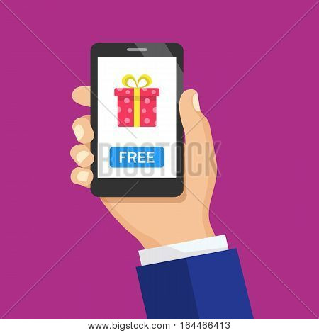 Hand holding smartphone with gift box on the screen. Holiday online delivery. Flat vector concept illustration of hands with smartphone with present box icon and Free button.