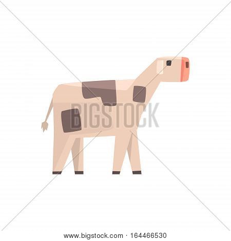 Toy Simple Geometric Farm Baby Cow Browsing, Funny Animal Vector Illustration. Stylized Farming Animal For Video Game Platformer With Geometrical Design.