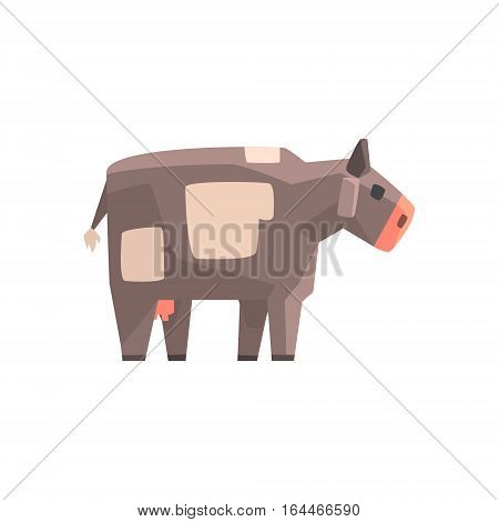 Toy Simple Geometric Farm Grey Cow Browsing, Funny Animal Vector Illustration. Stylized Farming Animal For Video Game Platformer With Geometrical Design.