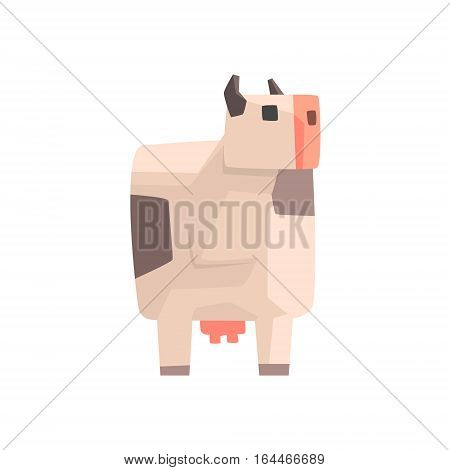 Toy Simple Geometric Farm White Spotted Cow Browsing, Funny Animal Vector Illustration. Stylized Farming Animal For Video Game Platformer With Geometrical Design.