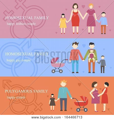 Informative horizontal flat banners set with nontraditional families and polygamy relationship. Happy  gay and lesbian couple with children. Vector illustration