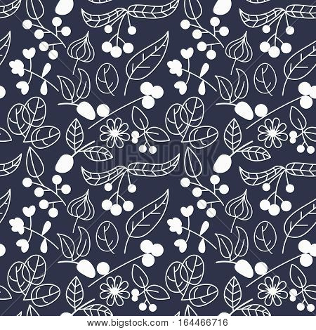 Vector seamless pattern with berries and leaves. Nature background with plants and flowers.