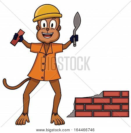Bricklayer monkey plaster worker cartoon animal character. Vector illustration.
