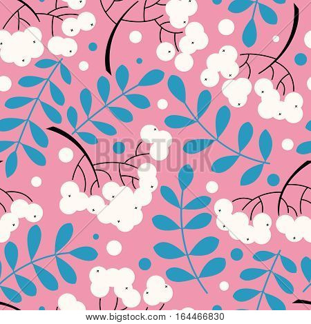 Vector seamless pattern with rowanberry leaves and berries. Natural decorative background with fall plants.