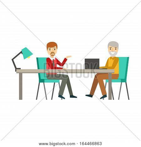 Colleagues Discussing Work At Table, Coworking In Informal Atmosphere In Modern Design Office Infographic Illustration. Office Worker In Comfortable Working Environment Simple Cartoon Drawing.