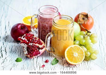 Berry smoothie healthy juicy vitamin drink diet or vegan food concept fresh vitamins homemade refreshing fruit beverage