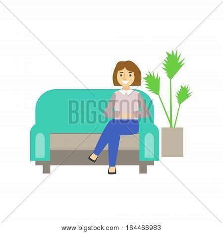 Woman Visitor Sitting On Sofa, Coworking In Informal Atmosphere In Modern Design Office Infographic Illustration. Office Worker In Comfortable Working Environment Simple Cartoon Drawing.