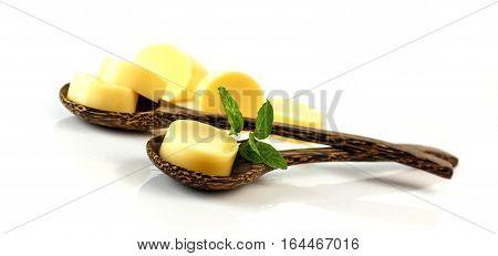 Egg Tofu On Wooden Spoon