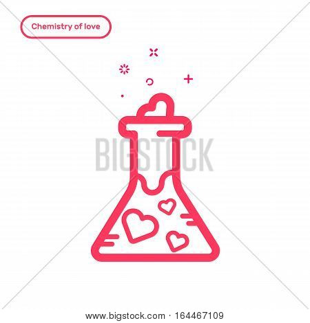 Vector illustration of icon concept chemestry of love. in flat bold line style. Valentines day graphic design pink flask filled with hearts. Outline object.