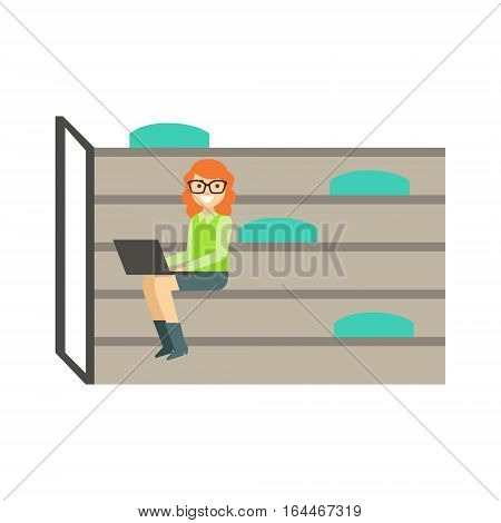 Woman With Lap Top Sitting On Steps With Bin Bags, Coworking In Informal Atmosphere In Modern Design Office Infographic Illustration. Office Worker In Comfortable Working Environment Simple Cartoon Drawing.