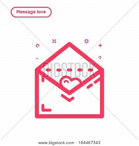 Vector illustration of icon concept message with love in flat bold line style. Valentines day graphic design pink envelope with heart. Outline object.