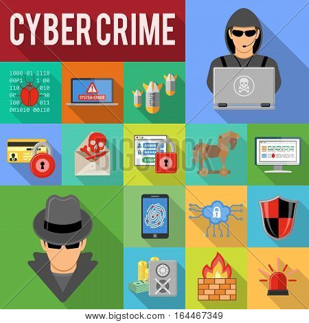 Internet Security and cyber crime concept with Flat Icon Set Long Shadows Like Hacker, phishing, Virus, Spam and Firewall. vector illustration