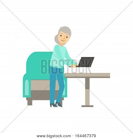 Old Lady Placing Lap Top On The Table, Coworking In Informal Atmosphere In Modern Design Office Infographic Illustration. Office Worker In Comfortable Working Environment Simple Cartoon Drawing.