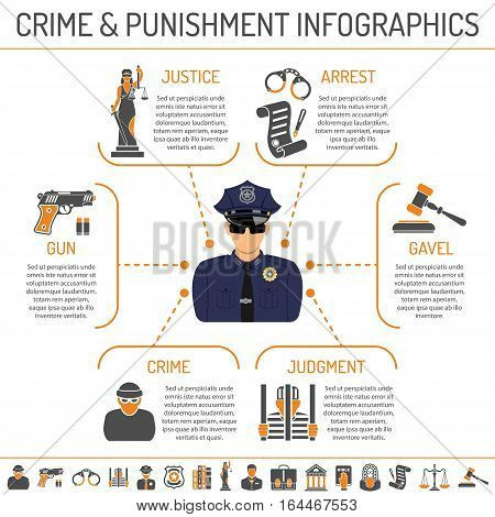 Set Crime and Punishment infographics with two color flat Icons like crime, Policeman and judge. isolated vector illustration