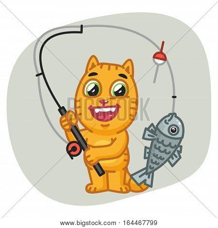 Vector Illustration, Cat Caught Big Fish on Fishing Rod, Format EPS 8