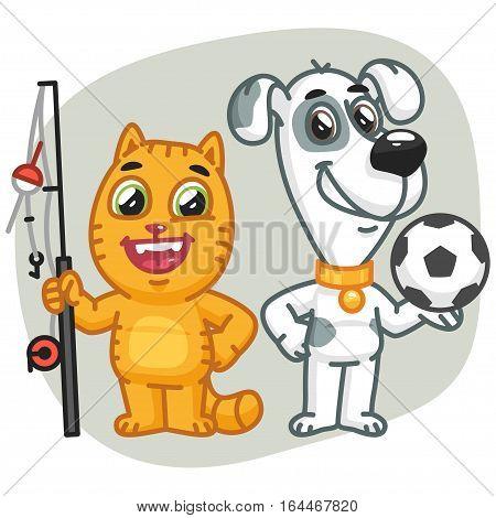 Vector Illustration, Cat Holding Big Fish Dog Holding Soccer Ball, Format EPS 8