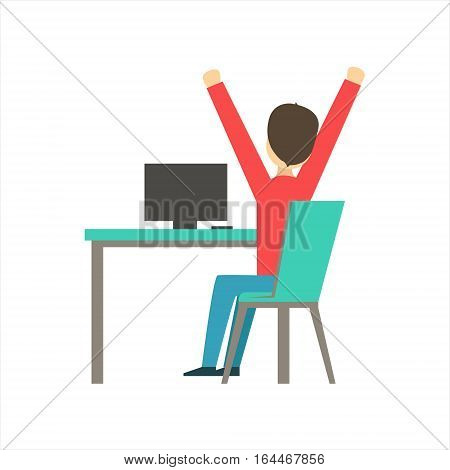 Guy Sleepy Stretching At Work, Coworking In Informal Atmosphere In Modern Design Office Infographic Illustration. Office Worker In Comfortable Working Environment Simple Cartoon Drawing.