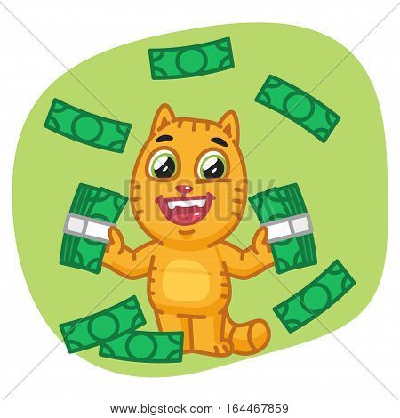 Vector Illustration, Cat Holding Money and Happy, Format EPS 8