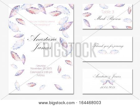 Template cards set with watercolor purple and blue leaves; wedding design for invitation, number, RSVP, Thank you card, for anniversary day