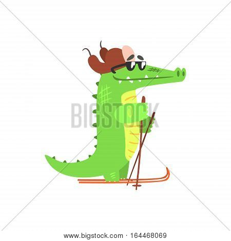 Crocodile Skiing In Cap With Ear Flaps, Humanized Green Reptile Animal Character Every Day Activity, Part Of Flat Bright Color Isolated Funny Alligator In Different Situation Series Of Illustrations