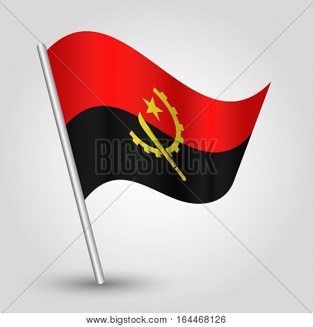 vector waving simple triangle angolan flag on slanted silver pole - icon republic of angola with metal stick