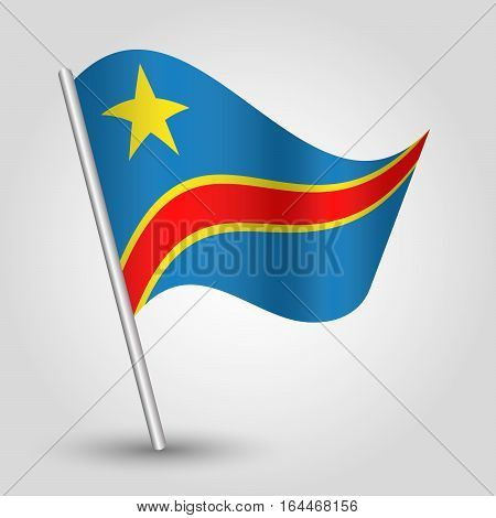 vector waving simple triangle congolese flag on slanted silver pole - icon of democratic republic of the congo with metal stick