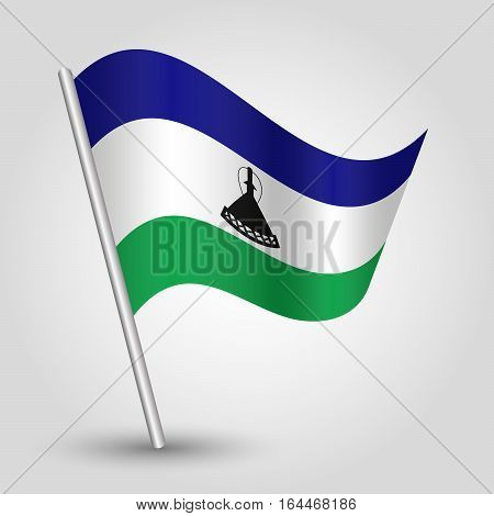 vector waving simple triangle mosotho flag on slanted silver pole - icon of kingdom of lesotho with metal stick